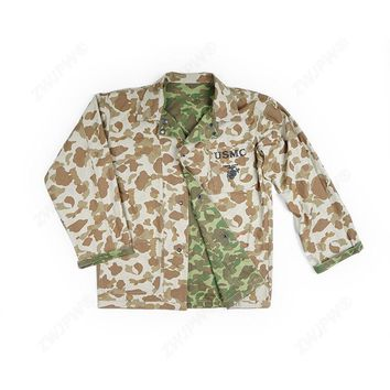 WW2 WWII US ARMY SOLIDER USMC PACIFIC CAMO COTTON REVERSIBLE JACKET COAT TOPS MILITARY
