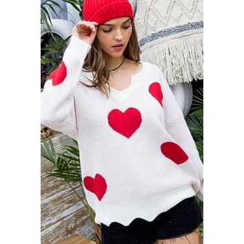 Scalloped Edge Long Sleeve Heart Print Sweater - Red/White ONLY 1 M LEFT