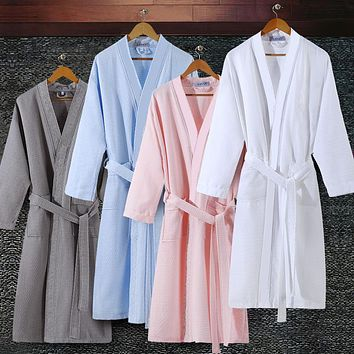 On Sale Lovers Summer Suck Water Kimono Cotton Bath Robe Men Plus Size Sexy Waffle Bathrobe Mens Dressing Gown Male Lounge Robes