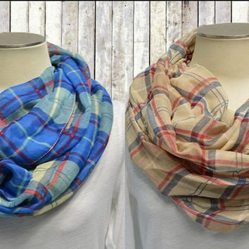 Plaid Spring Infinity Scarf Lightweight Cotton Circle Loop Womens Prints