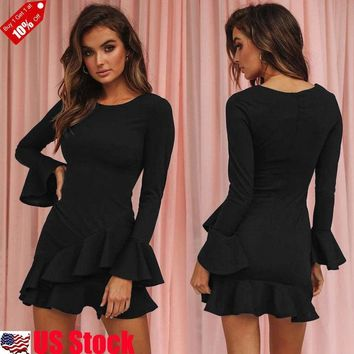 Women's Long Sleeve V Neck Bodycon Slim Party Cocktail Mini Dress Sexy Dress USA