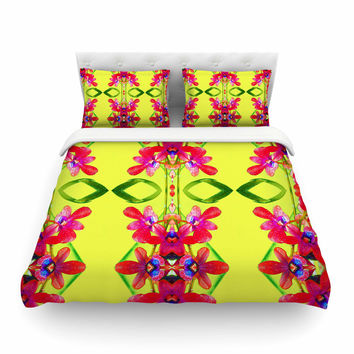 """Dawid Roc """"Tropical Floral Orchids 1 """" Yellow Red Featherweight Duvet Cover"""
