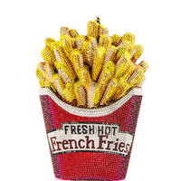 Judith Leiber Couture Fresh Hot French Fries Crystal Minaudiere Clutch Bag