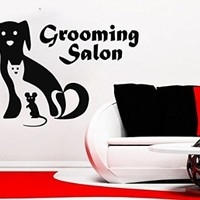 Wall Decals Quote Grooming Salon Decal Dog Cat Mousem Vinyl Sticker Pet-Shop Grooming Salon Home Decor Art Mural Ms724