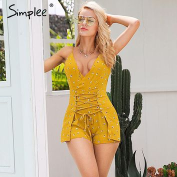 Simplee V neck backless sexy romper