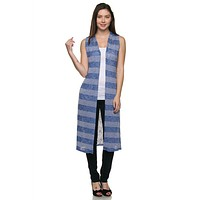 Striped Print Side Slit Open Duster Summer Light Cardigan Vest