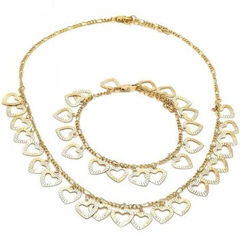Gold Layered 06.105.0008 Necklace and Bracelet, Heart Design, Polished Finish, Golden Tone