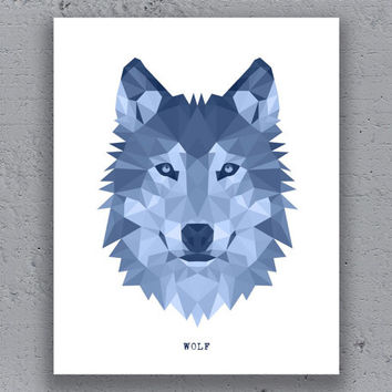 Wolf Print Printable Poster Geometric Typography Print Blue Print Wildlife Polygon Animal Art Retro Art Print Instant Download Digital Print