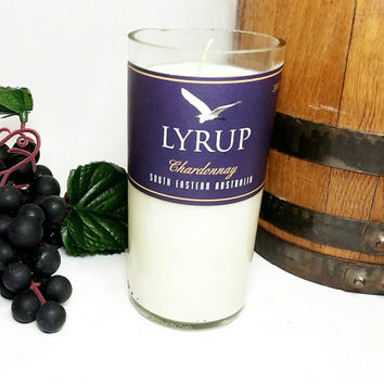 Recycled Miniature Wine Bottle Soy Candle Scented With Obsession for Men/Repurposed Lyrup Winery Bottle/Glass Art