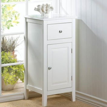 Accent Table Cabinet-White Drawer Side