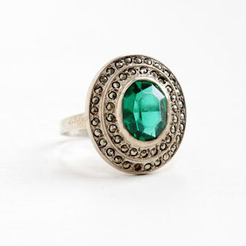 Antique Art Deco Emerald Green Glass & Marcasite Ring- Vintage Size 6 1/4 1930s Sterling Silver Cluster Jewelry