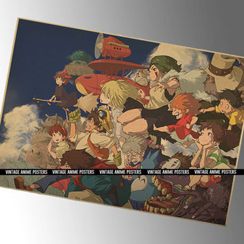 60x42cm 8 Studio Ghibli Films in 1 Vintage Style Poster - Hayao Miyazaki Animation Films Wall Print - Anime Poster, Retro Poster