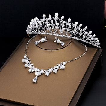 Princess Marquise Cubic Zircon Crown Tiara Bridal Jewelry Set