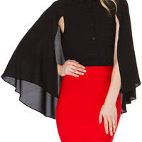Black Button Down Chiffon Cape Blouse