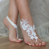 Free Ship ivory, white black, champagne, blue  flexible ankle sandals,  laceBarefoot Sandals, french lace, Beach wedding barefoot sandals