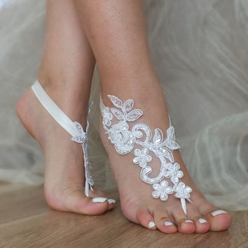 5 pairs bridesmaid gift Free Ship White lace sandals, white bridal anklet,  Beach wedding barefoot sandals, bangle, wedding anklet, anklet,