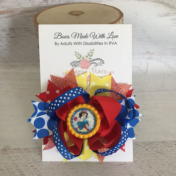 Snow White Bow, Snow White Dress, Snow White Birthday Outfit, Snow White Headband, Disney Bow, Disney Dress, Birthday Dress, Red Bow,