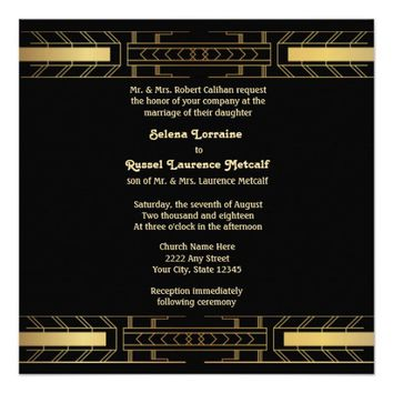 Classic Beauty Art Deco Wedding Invitation