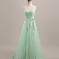 Mint Sweetheart Bridesmaid Dress/ Long Bridesmaid Dress/Mint Green Fashion Long Prom Dresses /chiffon prom dress