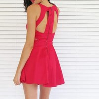Dress Skater Cut Out Red