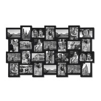 Adeco Black Wood Wall Hanging Picture Photo Frame Collage, Basket-Weave Design, 28 Openings, 4x6""