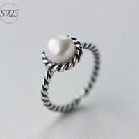 Retro 925 Sterling Silver pearl opening ring,adjustable retro silver ring, silver white pearl ring,a perfect gift