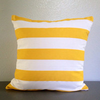 Yellow White Stripe Decorative Pillow Cover Envelope Cushion Beach Nautical 18in Cotton Accent Pillow Throw Toss Pillow Modern Pillow