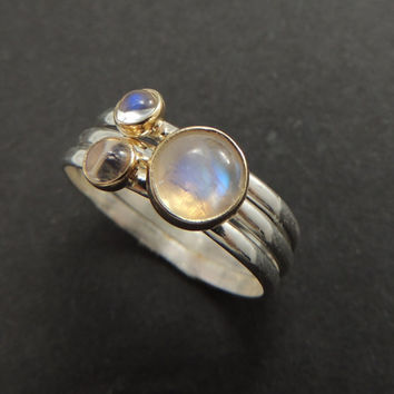 3 Moonstone Rings Solid 14k Gold and Sterling Silver, Rainbow Moonstone Ring, Moonstone Stacking Ring Set, Stacking Rings