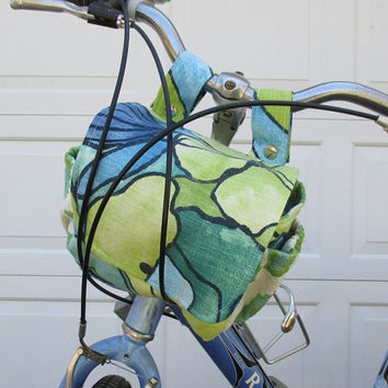 Blue Green Bicycle Bag , Bike Bag Converts To A Purse , Handlebar Bike Bag Bicycle