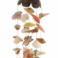 "Marvelous Coconut Shell Wind Chime 7""W 30""H"