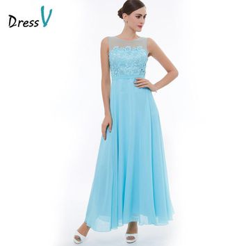 Dressv ice blue A-line chiffon evening dress scoop neck ankle length lace long evening dress open back formal party prom dress