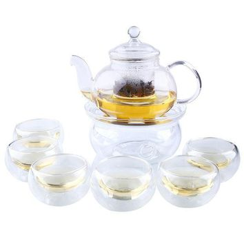 Heat Resistant Clear Glass Tea Pot Set Infuser Teapot+warmer+6 Cup 1000ml