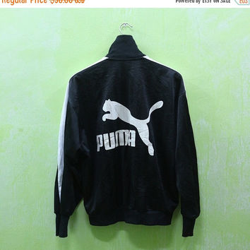 15% SALES Vintage Puma Sport Big Logo Trainer Zipper Black Jacket Sweater