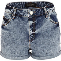 Light denim acid wash high waisted shorts