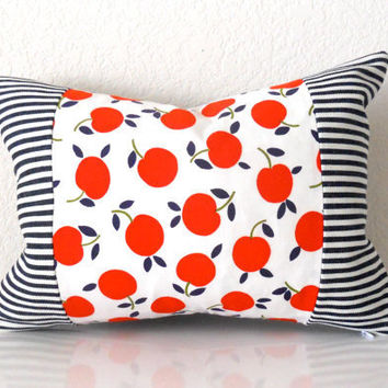 """Accent Pillow Cover Vintage Cherries and Navy Blue Stripes 12""""x16"""""""