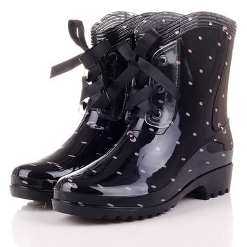 Women Front Bow Ankle Length Short Wellies Wellingtons Rain Boots Flat Shoes US SZ 6-8 = 1946565380