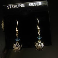 MOTHERS DAY GIFT Sale- Selling All Sterling Silver Earrings Filigree Butterfly with Blue Swarovski Crystal Post Earrings Mom Grandma Nana