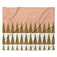 "Suzanne Carter ""Peach Geo"" Peach Black Fleece Throw Blanket"