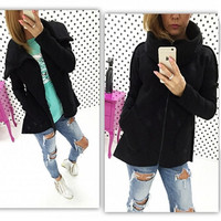 Stand Collar Pockets Solid Zipper Long Coat