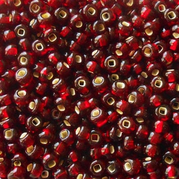 Pkg of 24 grams Garnet Red Silver Lined Czech 6/0 large glass seed beads, size 6 Preciosa Rocaille 4mm spacer beads, large, big hole C8624