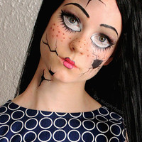 Broken Doll  - Temporary Costume Tattoos Makeup -  Halloween 2013