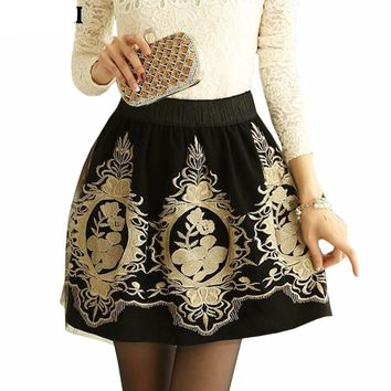 Women's Black Skirts Embroidery