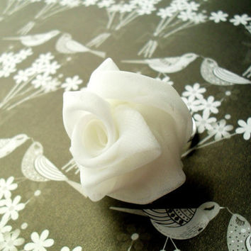 Ivory Chiffon Rose Ring Expandable - Ready To Ship