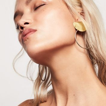 Free People Brass Knocker Hoops