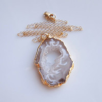 Geode Necklace in Gold, OOAK