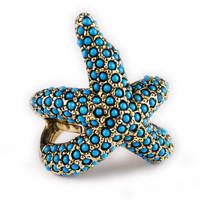Kenneth Jay Lane Turquoise Pave Starfish Ring