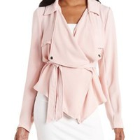 Pearl Blush Cropped Cascade Moto Trench Coat by Charlotte Russe
