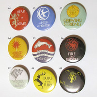 """2"""" Game of Thrones Pinback Buttons 50mm. Game of Thrones quotes. 2 Inch Buttons Badges, House Arryn, Baratheon, Stark, Greyjoy,lannister"""