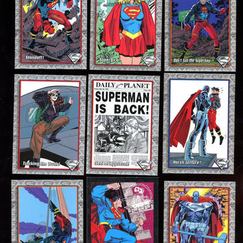 The Return of Superman Vintage Skybox, DC 1993 Lot of 9 cards, includes Rare Promo card & features Super Girl! Great Condition Free Shipping