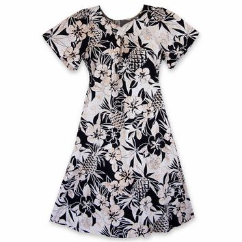 Sweet Pineapple Black Cotton Hawaiian Muumuu Dress